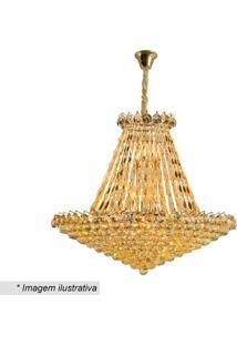 Lustre Shine- Cristal & Dourado- 75Xø80Cm- Bivolhevvy