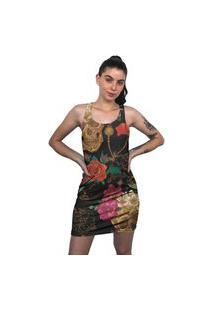 Vestido Regata Chess Clothing Caveiras Floral Colorido