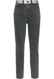 Jordache High-Waisted Straight Leg Metallic Panel Jeans - Cinza