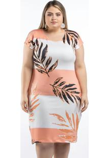 Vestido Com Estampa Digital Coral