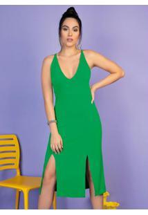 Vestido Verde Com Alças E Fendas