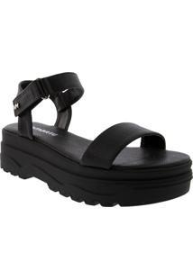 Sandália Via Marte Flatform Com Velcro Preto 2020635