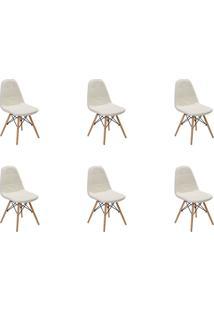 Kit 06 Cadeiras Eiffel Botone S/ Braço Branca Rivatti