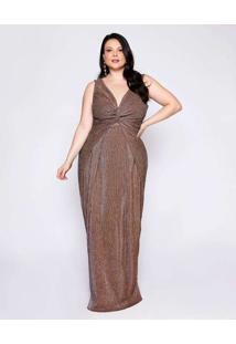 Vestido Almaria Plus Size Pianeta Malha Lurex Plis