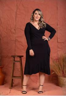 Vestido Midi Carol Black Plus Size