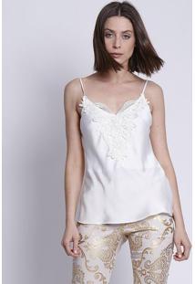 Blusa Acetinada Com Renda - Branca - Moiselemoisele