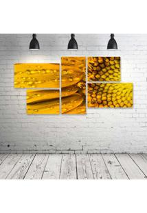 Quadro Decorativo - Sunflower-Macro - Composto De 5 Quadros
