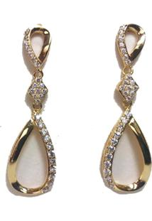 Brinco De Ouro Feminino Banhado A Ouro Formato Gota Cravejado Com Zircônia Cristal