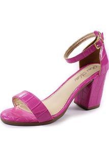 Sandália Rosa Matte Salto Grosso Croco Pink