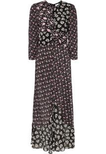 Rixo Vestido Floral Chelsea - Preto