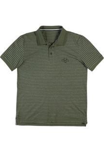 Camisa Polo Masculina Regular Em Malha De Algodão Listrada