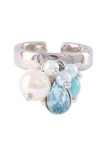 Anel Armazem Rr Bijoux Pingentes Pérolas E Cristal Azul Prata - Feminino-Prata