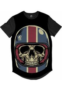 Camiseta Bsc Longline Caveira Capacete Motoqueiro 65 Sublimada Masculina - Masculino-Preto