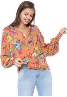 Camisa Colcci Floral Laranja