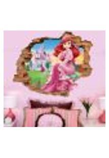 Adesivo De Parede Buraco Falso 3D Princesa Ariel 02 - G 82X100Cm