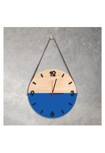 Relógio De Parede Decorativo Adnet Azul Com Números Em Relevo Médio