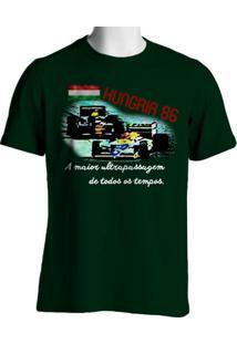 Camiseta Fórmula Retrô Vintage Hungria 1986 - Masculino