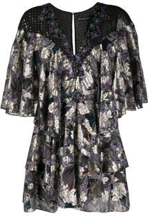 Etro Vestido De Seda Com Estampa Paisley E Sobreposição - Preto