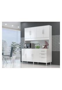 Cozinha Compacta Gemeos 1,44M 7 Portas 3 Gav. Branco Branco