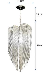 Lustre Pendente De Cristal Acrílico Alto Brilho 42X102 Lina Design Ac35 - Kanui