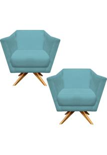 Kit 02 Poltronas Decorativa D'Rossi Lorena Suede Azul Tiffany Com Base Giratória De Madeira