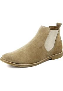 Botina Atron Shoes Chelsea Boots Areia Turqueza Em Couro Camurça 502