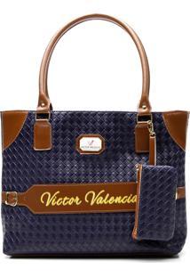 Bolsa Victor Valencia Alça Dupla Ombro Azul