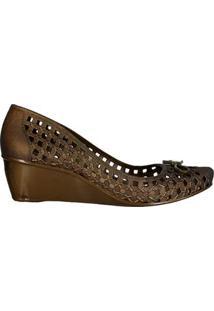 Sapato Fem Injetado Anabela C Lacinho E Pin 66635033