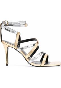 Versace Jeans Couture Sandália De Tiras Bicolor - Dourado