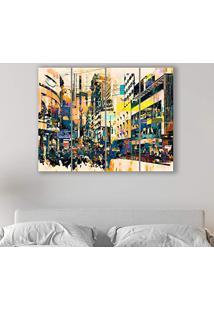 Placa Painel Decorativa Em Mdf Foto Pintura Cidade Kit 4 Placas