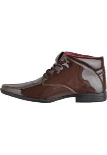 Botinha Social Verniz Cr Shoes Marrom