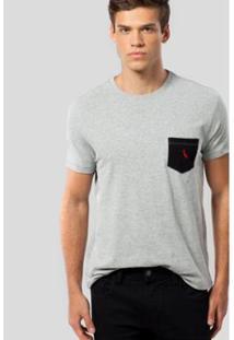 Camiseta Ms Bolso Pt Pica-Pau Bordado Reserva Masculina - Masculino-Cinza