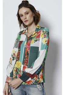 Camisa Floral & Texturizada- Verde & Brancatvz