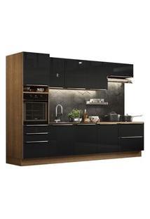 Cozinha Completa Madesa Lux 320004 Com Armário E Balcão Rustic/Preto Cor:Rustic/Preto