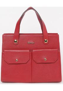 Bolsa Com Bolsos Externos- Vermelha- 26X33X13Cmgriffazzi