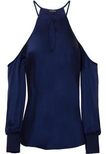 Blusa Le Lis Blanc Norah Seda Azul Marinho Feminina (Marine 19-3933Tcx, Gg)