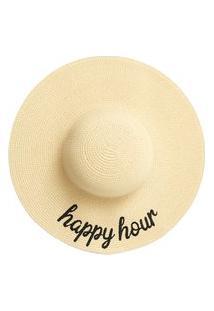 Chapéu Feminino Aba Longa Happy Hour - Bege