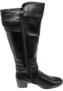 Bota Cano Alto Moon City Unique Beauty Feminina - Feminino-Preto
