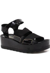 Sandália Zariff Shoes Plataforma Verniz Preto