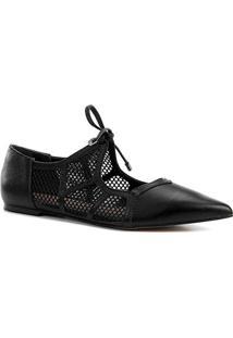 Sapatilha Couro Shoestock Bico Fino Tela Feminina - Feminino-Preto