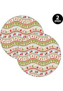 Sousplat Mdecore Natal Papai Noel 32X32Cm Verde 2Pçs