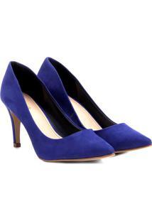 Scarpin Em Couro- Azul- Salto: 8Cmshoestock