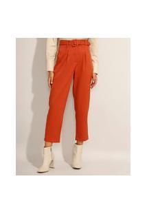 Calça Feminina Carrot Cintura Alta Alfaiataria Com Cinto Laranja Escuro