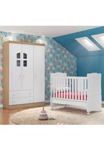 Quarto De Bebê Guarda Roupa Amore 3 Portas E Berço Certificado Pelo In