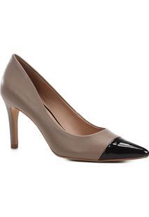 Scarpin Couro Shoestock Salto Alto Bicolor - Feminino-Cinza+Preto
