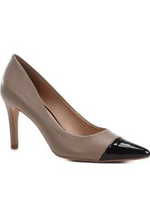 Scarpin Couro Shoestock Salto Alto - Feminino-Cinza+Preto