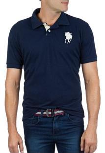 Camisa Polo Masculina Azul Lisa Com Bordado - P
