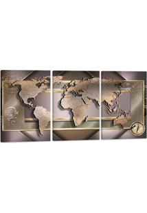 Quadro Mapa Mundi Luxo 60X120Cm Decoração Escritórios Salas Empresas Oppen House