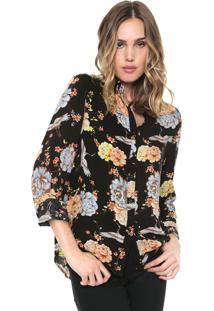 Camisa Facinelli By Mooncity Floral Preta/Laranja