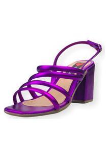 Sandália Salto Bloco Love Shoes Tiras Fashion Metalizado Roxo